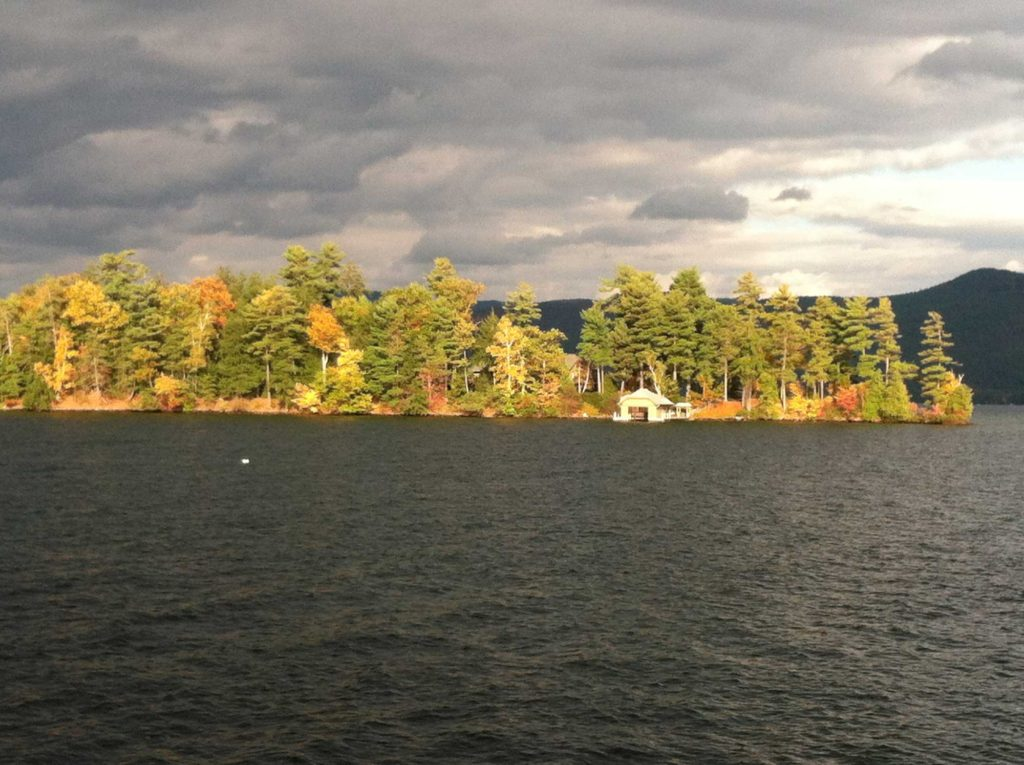 Hemlock-Point-as-seen-from-the-boat-house-roof-on-a-bright-fall-day